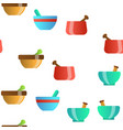 pestles with mortars seamless pattern vector image