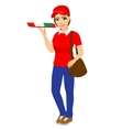 pizza delivery girl holding cardboard box vector image vector image