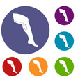 plastic surgery of legs icons set vector image