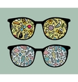 Retro sunglasses with insects and fish vector image