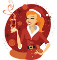 Santa girl with mulled wine vector image vector image