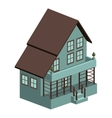 silhouette colorful house with three floors vector image vector image