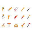 simple orange color hand tool icons set vector image vector image