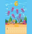 six jellyfish underwater worksheet vector image