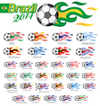 soccer ball set with flag flame vector image