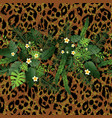 tropical flowers and leopard vector image