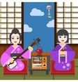 Two Geisha tea ceremony vector image vector image