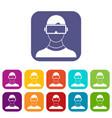 virtual 3d reality goggles icons set vector image vector image