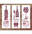 Wine bar menu cardBanners set vector image
