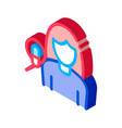 woman with microphone isometric icon vector image vector image