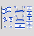 israel flag set collection of symbols flag vector image