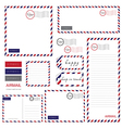 airmail letter set vector image vector image