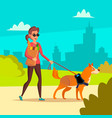 blind woman young person with pet dog vector image vector image