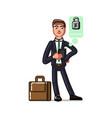 business man seting up a pasword vector image