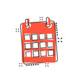 cartoon calendar agenda icon in comic style vector image vector image
