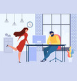 cartoon woman office table flirt with man at work vector image vector image