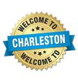 Charleston 3d gold badge with blue ribbon vector image vector image