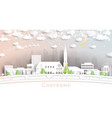 cheyenne wyoming usa city skyline in paper cut vector image vector image