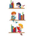 children reading books on shelves vector image vector image