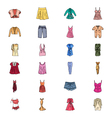 Clothes Hand Drawn Colored Icons 1 vector image vector image