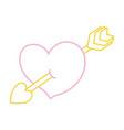 color line cute heart with art arrow icon vector image vector image
