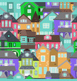 cute houses seamless pattern with color home vector image