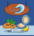 delicious crab legs and oysters sea food vector image vector image