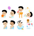 different baby boy poses and accesories vector image vector image