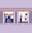 distance in elevator self protection flu virus vector image
