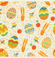 easter seamless pattern with cute rabbit and eggs vector image