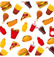 fast food hot dog chicken pizza soda seamless vector image