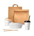 fast food package realistic design concept vector image
