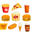 fast food sandwich drink snack icon set vector image vector image