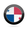 flag of panama shiny black round button vector image