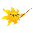 Funny cartoon sun pointing vector image vector image