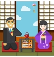 Geisha and businessman tea ceremony vector image vector image