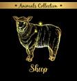 golden and royal hand drawn emblem of farm sheep vector image