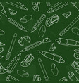 green chalkboard pencil pen sharpener and vector image