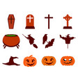 halloween icon set flat isolated on white vector image