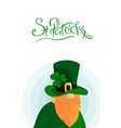 happy st patrick s day lettering with red beared vector image