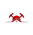 house protection helmet and hammer repair logo vector image