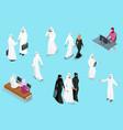 isometirc saudi businessmens arab man and woman vector image vector image