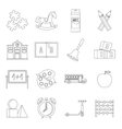 Kindergarten symbol icons set outline style vector image vector image