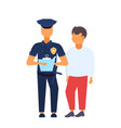 man driver with police officer standing together vector image vector image