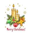Merry Christmas card in sketch style vector image vector image
