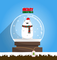 Merry Christmas white polar bear in snow globe vector image vector image
