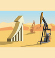 oil rigs and symbol of rising oil prices vector image
