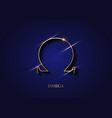 omega sign gold logo golden greek letter icon vector image vector image