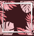 pink tropical leaves on the dark background vector image vector image