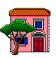 pixel art pink italian house with stone-pine vector image